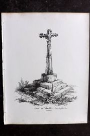 Anastatic Drawing Society 1858 Print. Cross at Wheston, Derbyshire